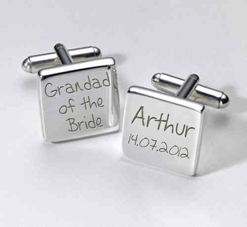 Grandad of the Bride Personalised Cufflinks