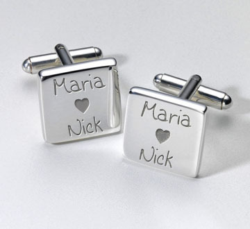 Personalised Wedding Cufflinks - Loving Couple