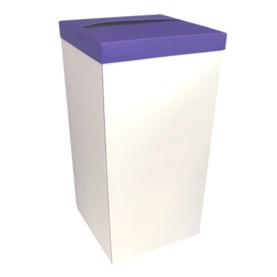 White Post Box With Purple Lid