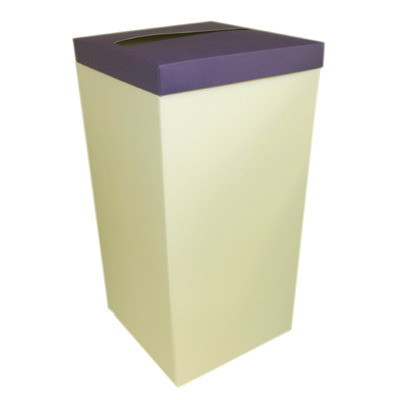 Ivory Post Box With Purple Lid