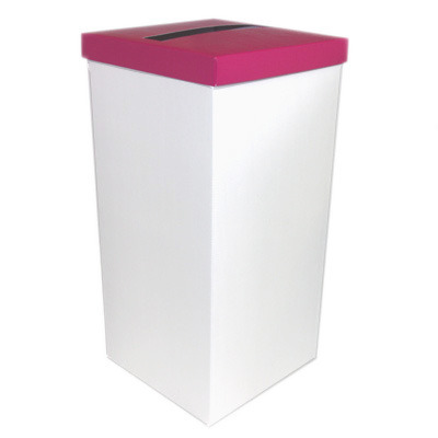 White Post Box With Hot Pink Lid
