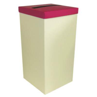 Ivory Post Box With Hot Pink Lid