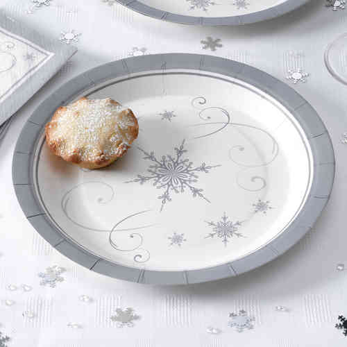 Shimmering Snowflake Paper Plates
