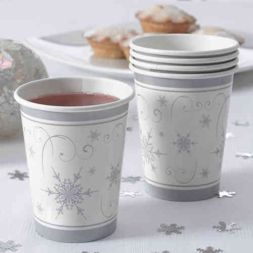 Shimmering Snowflake Paper Cups