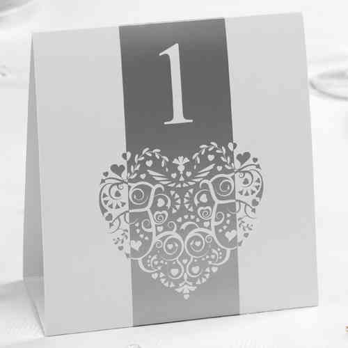 Vintage Heart Table Numbers - Silver & White
