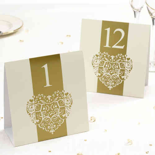 Vintage Heart Table Numbers - Gold & Ivory