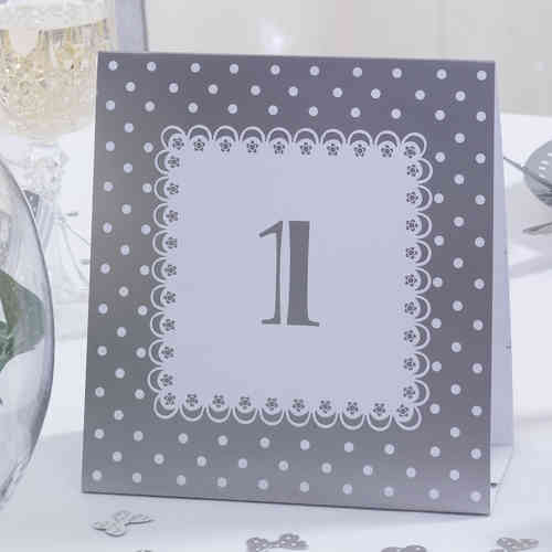 Chic Boutique Table Numbers - Silver & White