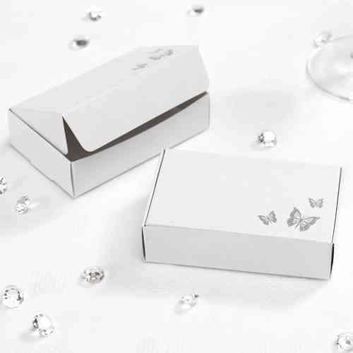 Elegant Butterfly Cake Boxes - White & Silver