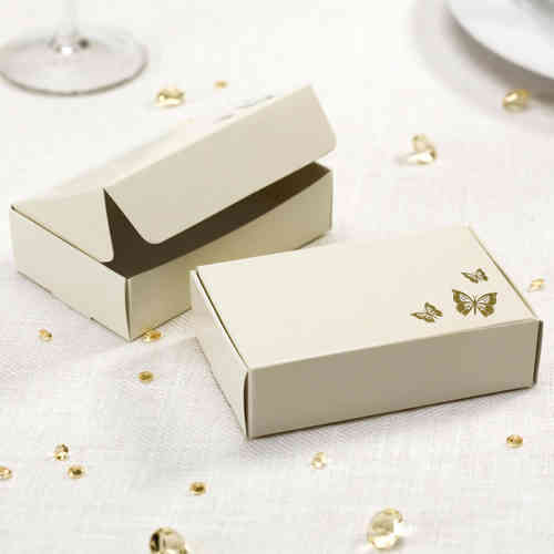 Elegant Butterfly Cake Boxes - Ivory & Gold