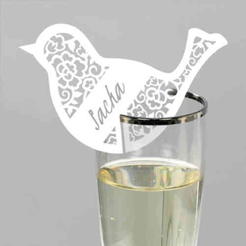 Bird Place Name Cards For Glass