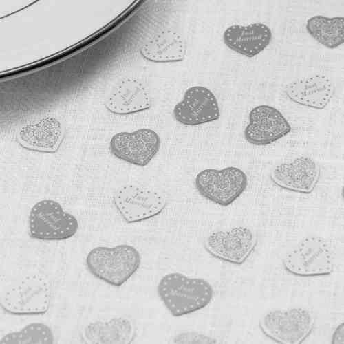 Vintage Style Heart Table Confetti - Silver & White