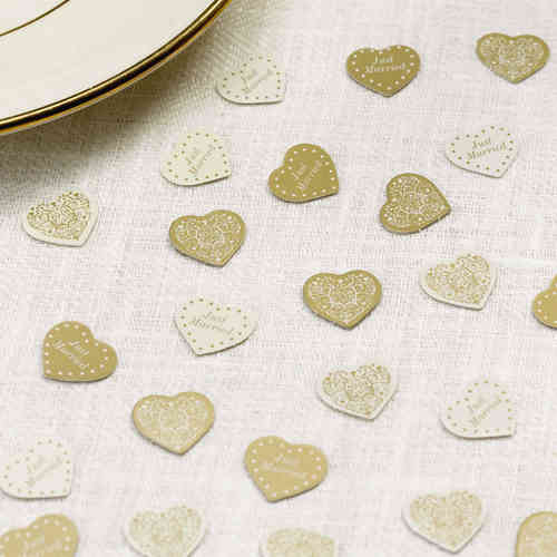 Vintage Style Heart Table Confetti - Gold & Ivory