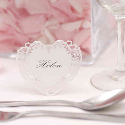Vintage-Style Freestanding Heart Place Cards - White