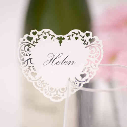 Vintage-Style Heart Place Cards for Glass - White