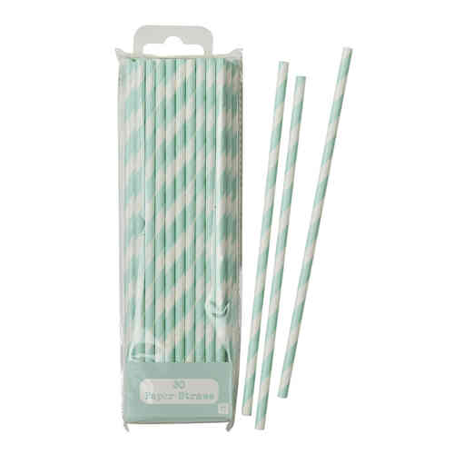 Mint Green & White Striped Paper Straws