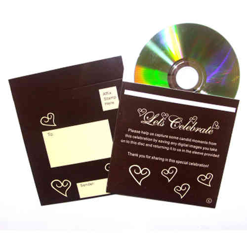 Photo CD & Sleeve - Brown & Ivory Hearts