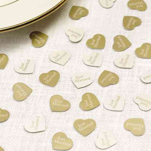 Heart Table Confetti - Gold & Ivory