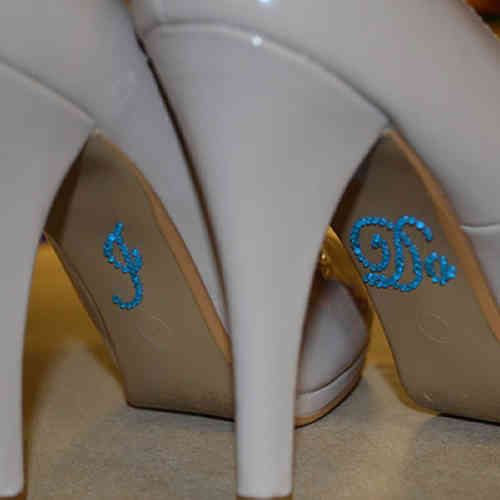 'I Do' Wedding Shoe Stickers - Blue