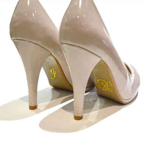 'I Do' Wedding Shoe Stickers - Yellow