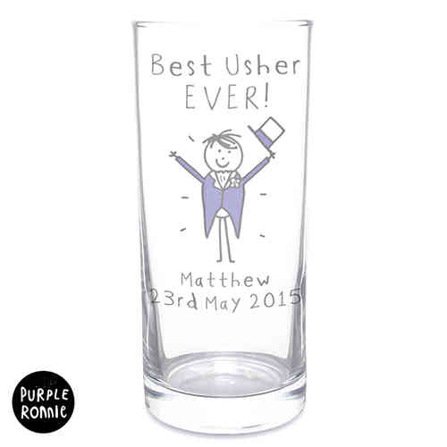 Purple Ronnie Personalised Wedding Hi Ball Glass - Male