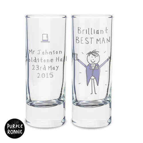Purple Ronnie Personalised Wedding Shot Glass - Male