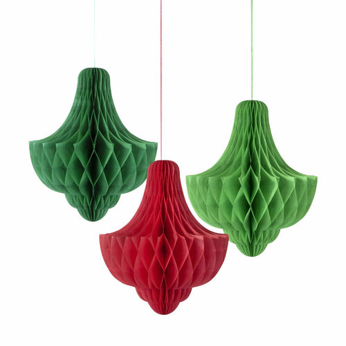 Green & Red Honeycomb Decorations