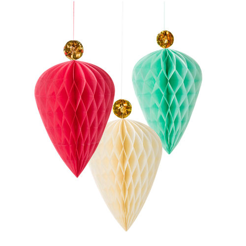 Large Honeycomb Baubles with Gold Toppers