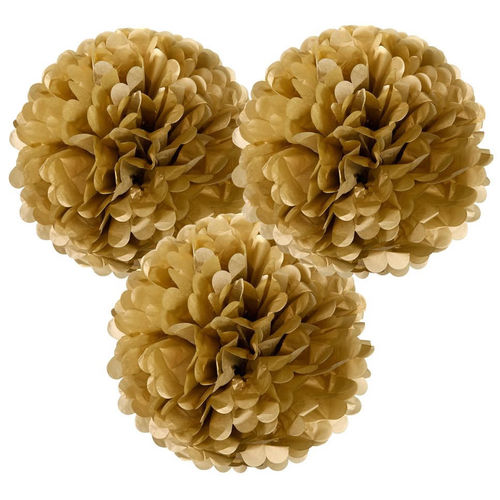 Large Gold Tissue Pom Poms