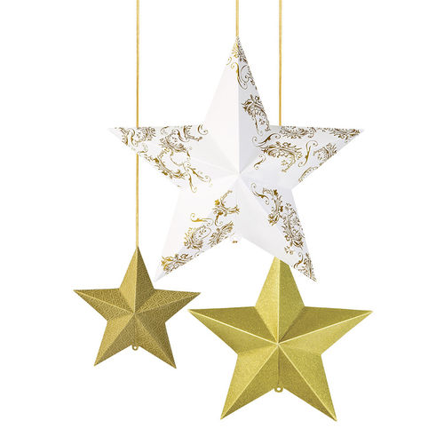 Gold & Ivory 3D Hanging Stars