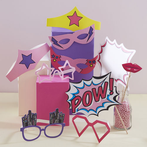 Pop Art Super Hero Pink Photo Booth Props