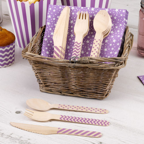 Wooden Cutlery Set - Purple Carnival Design
