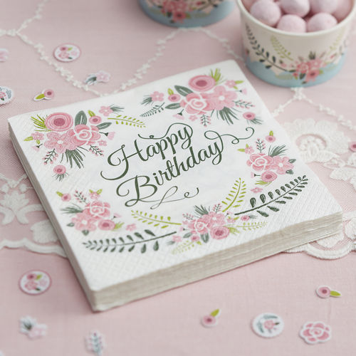 'Happy Birthday' Large Floral Napkins