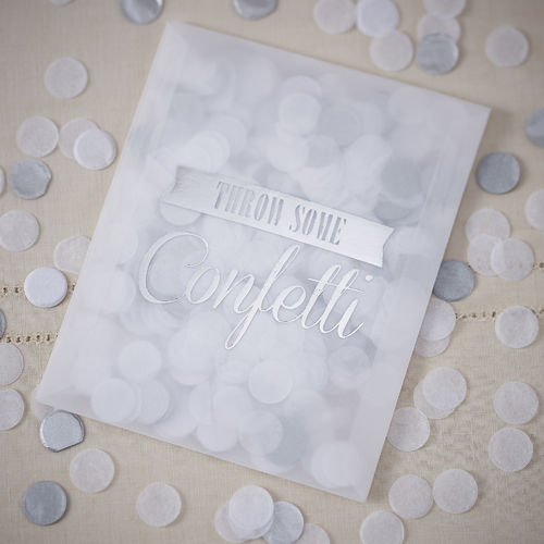 Throwing Confetti Filled Envelopes - White & Silver