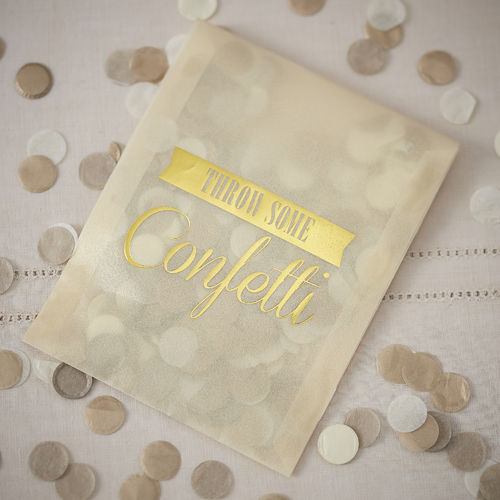 Throwing Confetti Filled Envelopes - Ivory & Gold