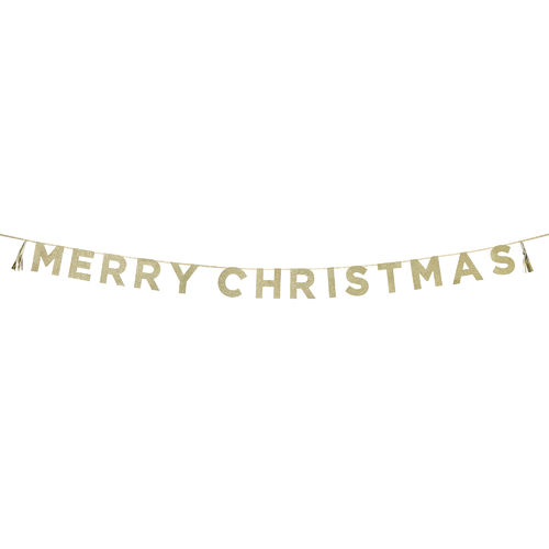 'MERRY CHIRSTMAS' Gold Glitter Banner