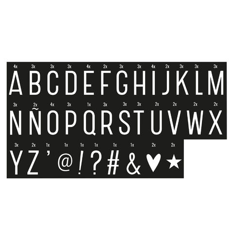 Letter Pack for Lightbox - Monochrome