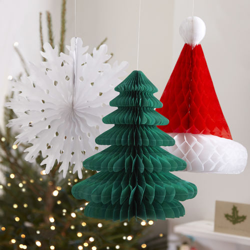 Mixed Christmas Honeycomb Hanging Decorations