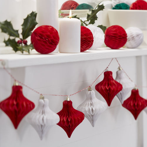 Christmas Honeycomb Bauble Garland
