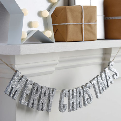 Silver Glitter 'Merry Christmas' Wooden Bunting
