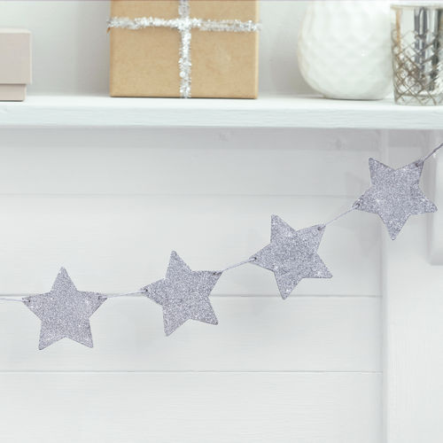Silver Glitter Star Wooden Bunting