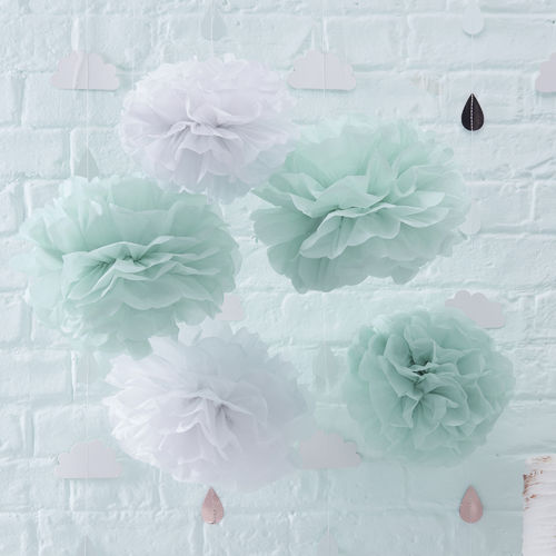 Mint Green & White Tissue Pom Poms