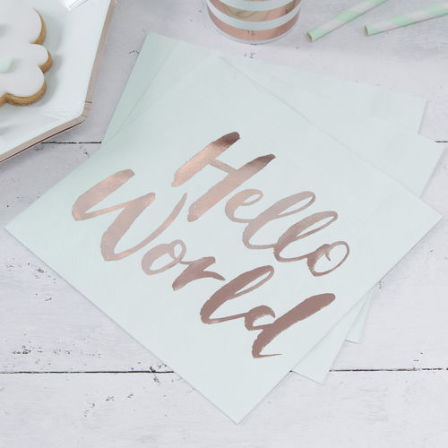 Hello World - Baby Shower Napkins
