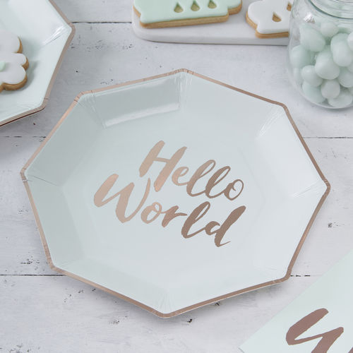 Hello World - Baby Shower Plates