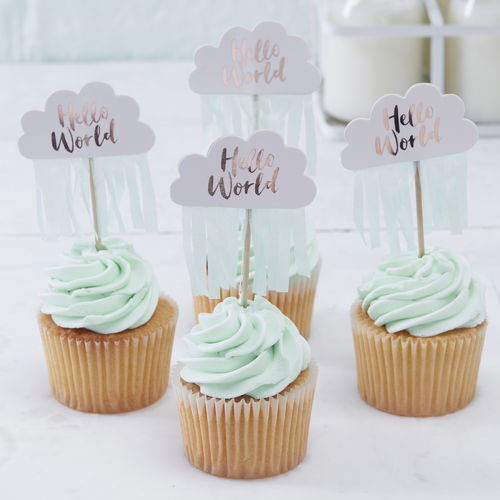 Hello World - Baby Shower Toppers