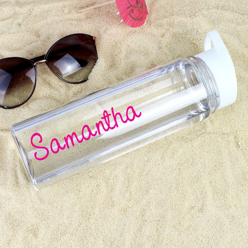 Personalised Water Bottle - Pink Text