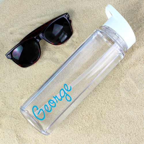 Personalised Water Bottle - Blue Text